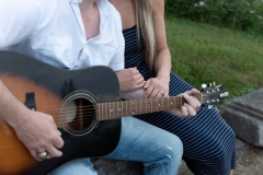 Musician engagement photography, engagement ring, love