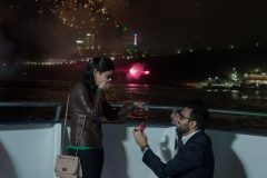 Suprise proposal , horn blower, niagara falls , fireworks proposal , proposal photographer