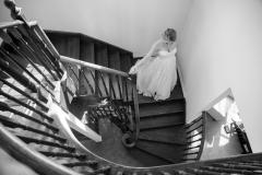 Bride portrait, staircase bridal portrait