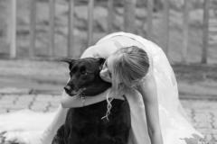 Old stone inn Wedding , dog at wedding