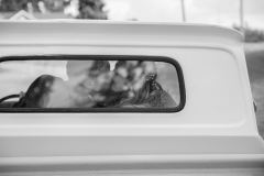 through window portraits, truck wedding photos