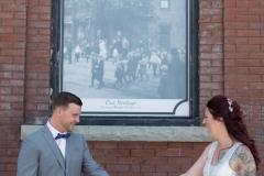 first look wedding photos, downtown niagara falls