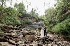 beamer falls manor wedding , hike, waterfall wedding portrait