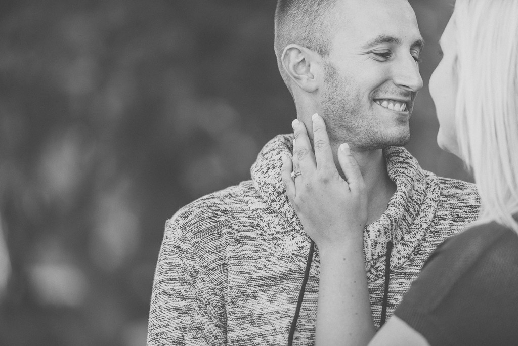 happy smiling couple engagement photo proposal - muir image photography