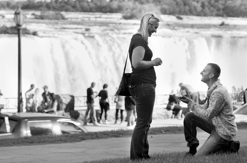 couple proposal engagement photo black and white - muir image photography