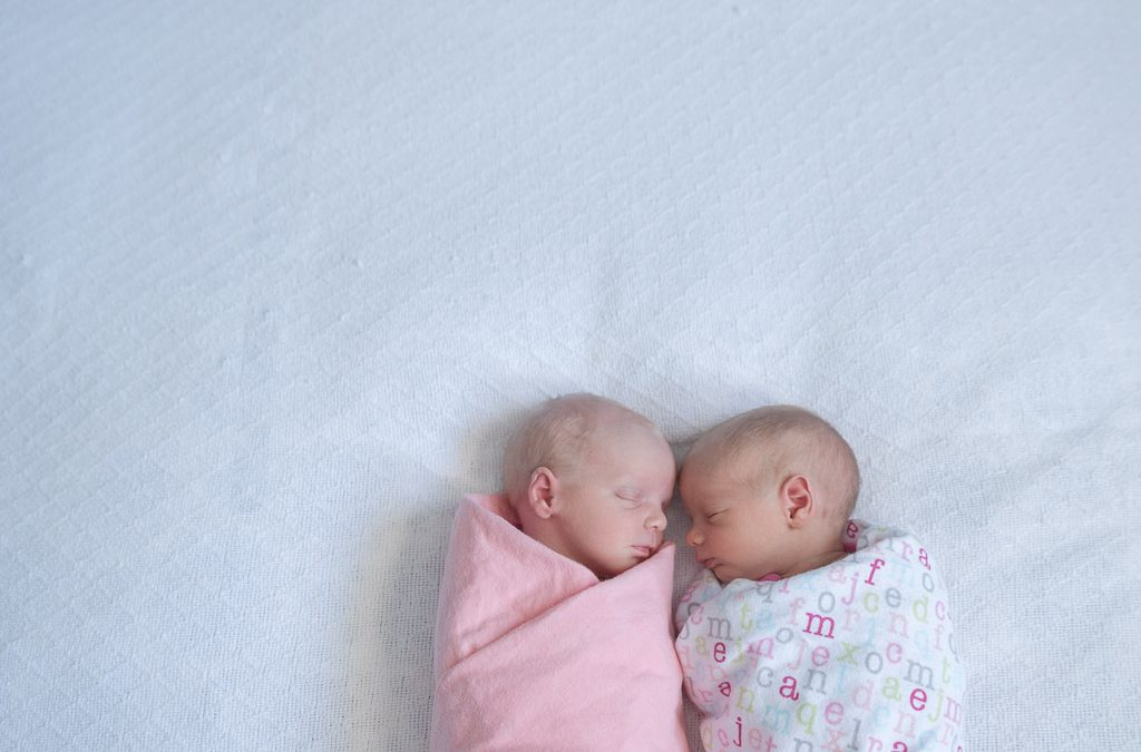 twin babies bundled up lifestyle - muir image photography